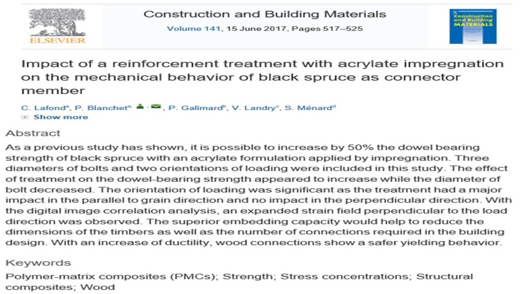 Impact of a reinforcement treatment with acrylate impregnation ont the mechanical behavior of black spruce as connector member