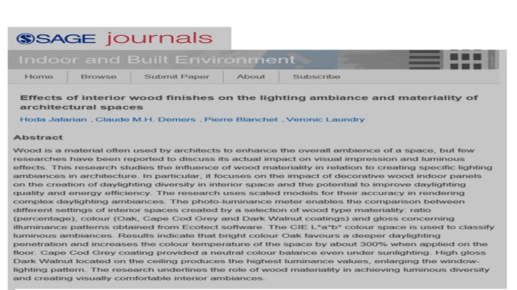Effects of interior wood finishes on the lighting ambiance and materiality of architectural spaces