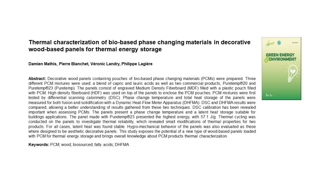 Thermal characterization of bio-based phase changing materials in decorative wood-based panels for thermal energy storage