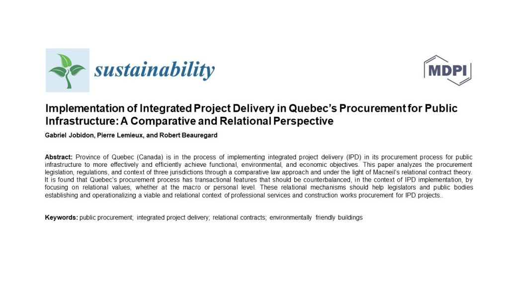 Implementation of integrated project delivery in Quebec's procurement for public infrastructure: A comparative and relational perspective